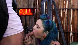 Tattooed alternative girl in lingerie gets a hardcore dicking