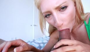 POV scene with blonde colleen who is really worthy at engulfing