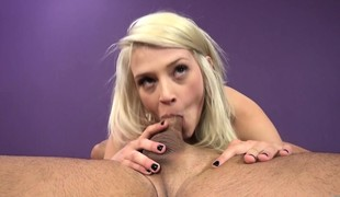 Aubry Gold likes to vibrate her clit when this babe sucks and gets nailed