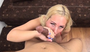 Busty blonde with a big round a-hole Kyra has a passion for black cock