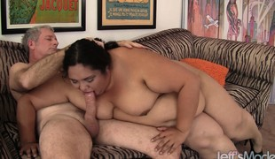 He has a fat fetish and gets this big whore to blow him and drills her