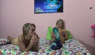 Two dazzling blondes express their excitement for hard meat and wild sex