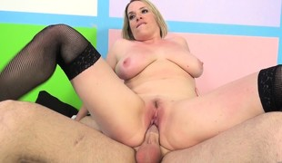 Big breasted blonde in black nylons Maggie Green receives pounded unfathomable