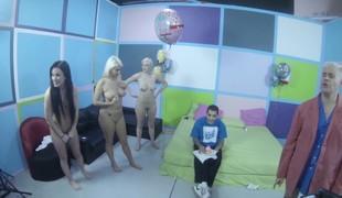 Jennifer White, Laela Pryce and Jenna Ivory do some backstage practicing