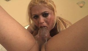 Curvy porn star with lengthy blonde hair enjoying a hardcore ass fuck