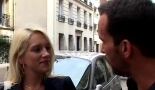 Hot blonde french babe picked up from street for her 1st anal video tape