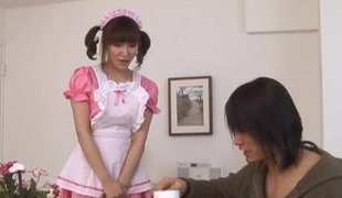 Lustful Japanese maid gets to engulf and ride on large shafts