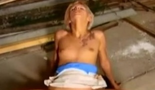 Shorthaired german blond takes large cock