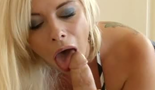 Delicious golden-haired bitch Sara St Clair pleasures her man with stout tit fuck and oral-sex