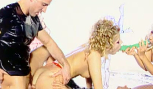 Blond wanton chick in blue fishnets Sophie Cutie assists 2 wild males fucking spoiled sweetie