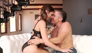 Sweet gal with pigtails  Riley Reid hammered well by her buddy