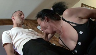 Granny in lace nylons Marianna gets her ruined fur pie screwed