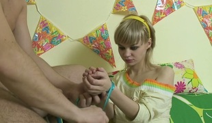 Blond beauty with tied hands Maryana gives some really good blowjob